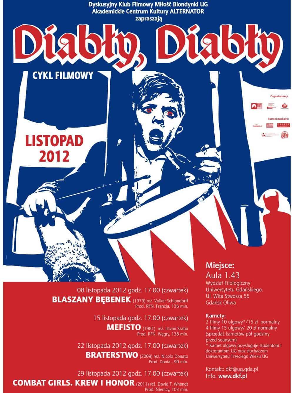 "plakat CYKL FILMOWY ""DIABŁY, DIABŁY"" LISTOPAD 2012."