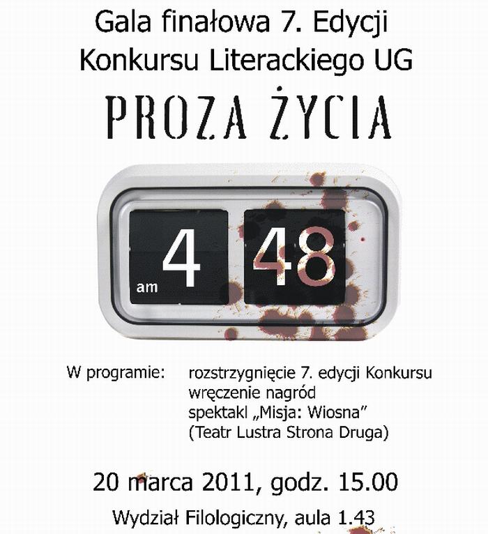 """Gala finałowa 7. edycji Konkursu Literackiego UG """"Proza Życia"""""""