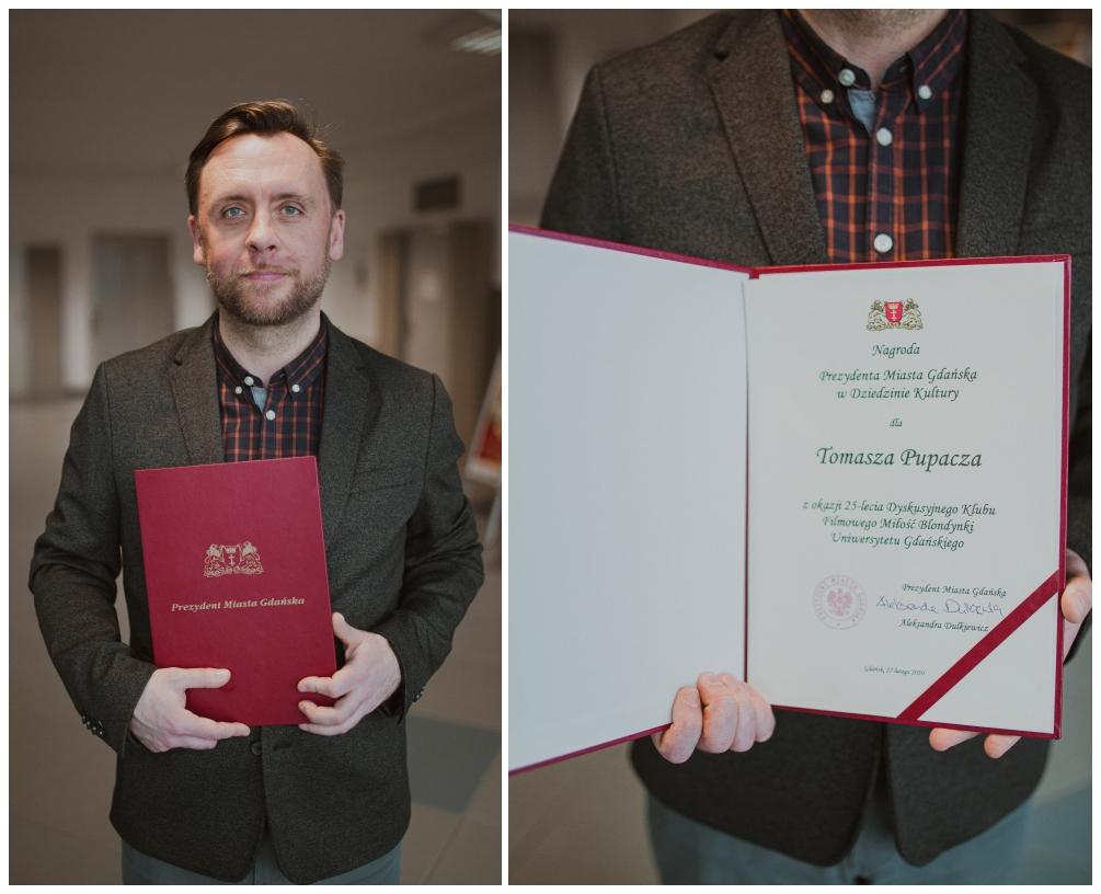 Nagroda Prezydent Miasta Gdańska w Dziedzinie Kultury dla Tomasza Pupacz - fot. A.Weydmann 2